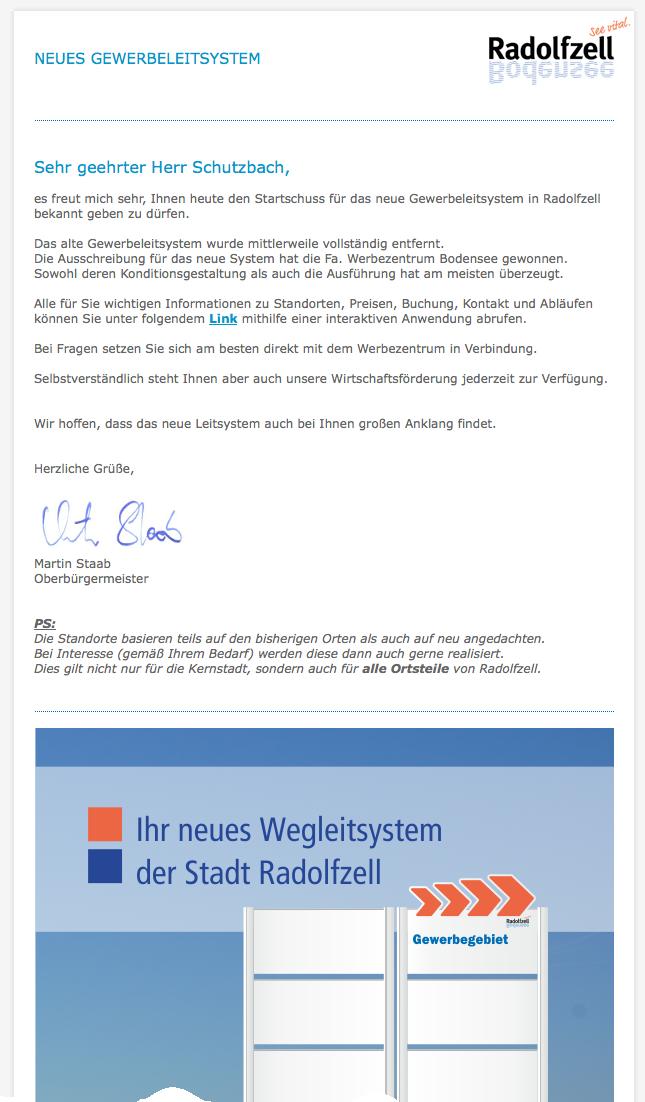 Neues Gewerbeleitsystem Radolfzell