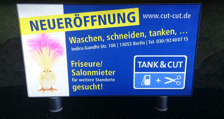 Tank & Cut: Neues Leuchtschild