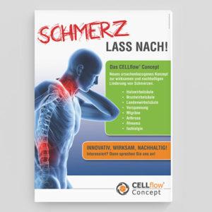 """Cellflow Concept Plakat """"Schmerz lass nach!"""""""