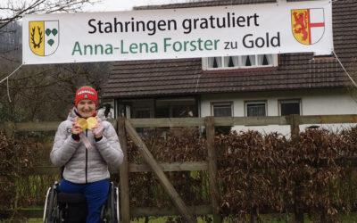 Banner – Glückwunsch zu Gold an Anna-Lena