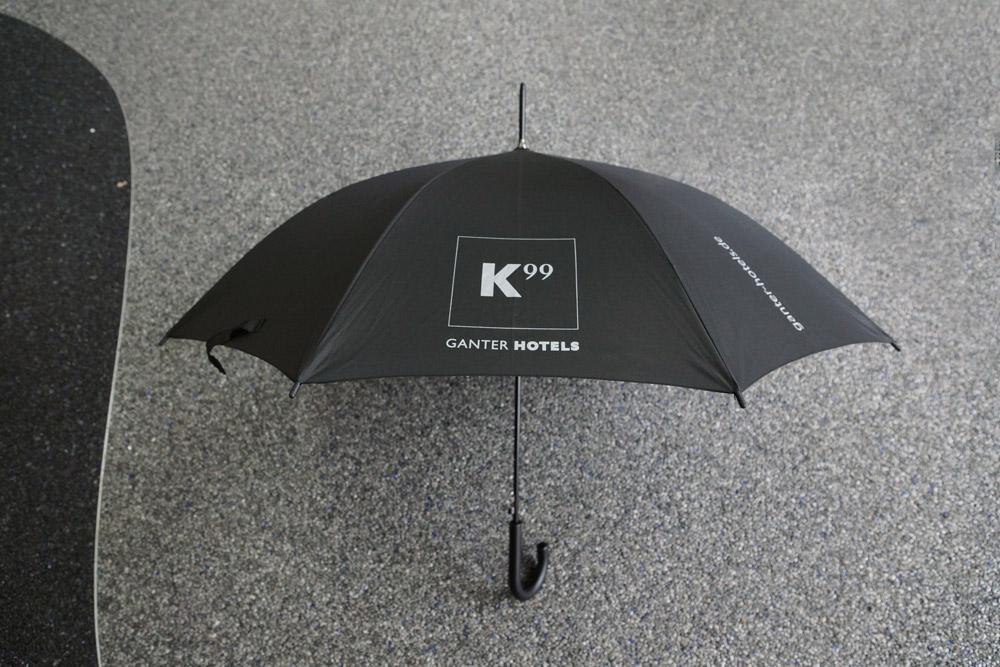 Regenschirm, Ganter Hotel, silber bedruckt, schwarz