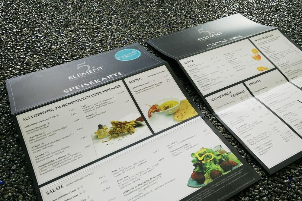 Speisekarten, gedruckt