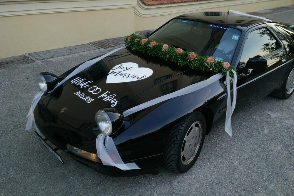 Hochzeitsauto, Folienbeschriftet