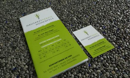 Broschüre und Visitenkarten für die Gemeinschaftspraxis Hohenfels