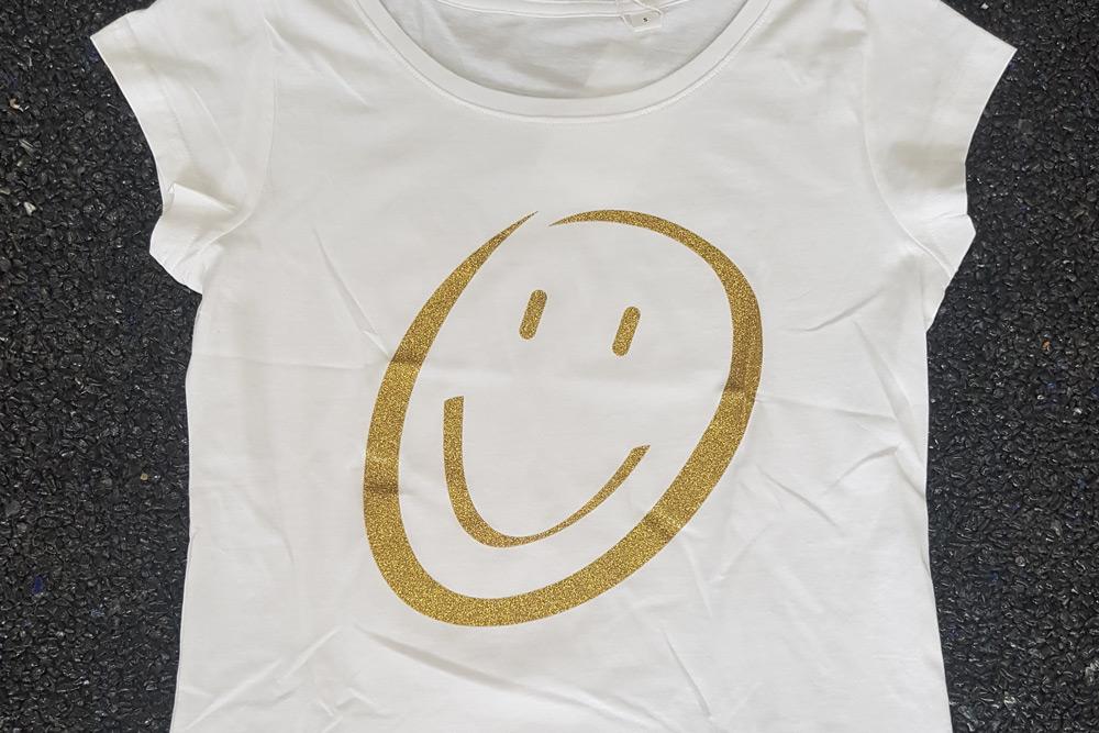 T-Shirt, veredelt, gold, schwarz