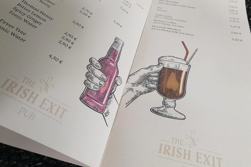The Irish Exit, Getränkekarte, Rückendrahtheftung