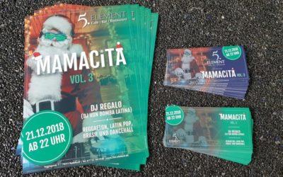 Plakate und Flyer für die Mamacita Veranstaltung im 5. Element